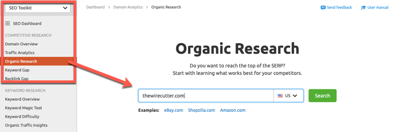 SEMrush Organic Research report