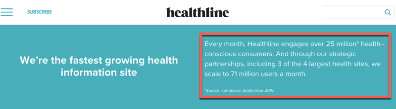 Checking traffic stats on the Healthline advertising page
